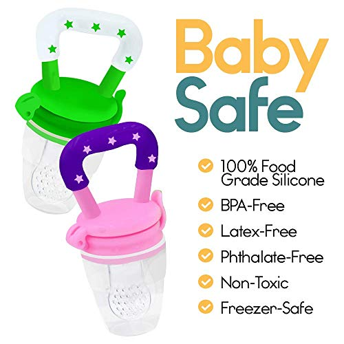 Baby Fruit Feeder Pacifier (2 Pack) - Fresh Food Feeder, Infant Fruit Teething Toy, Silicone Pouches for Toddlers & Kids by Ashtonbee by Ashtonbee (Image #2)