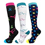 Compression Stocking for Women Man 20-30 mmHg Contention Socks Sports Stockings for Medical Travel Flight Varices TVP Edema Swelling Reduction, 3 Pairs (Set8, S/M)