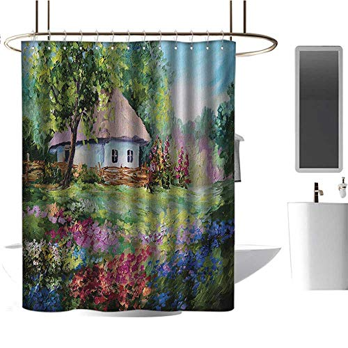 """Qenuan Shower Curtain Rustic,Artistic Stone House and Small Garden with Wooden Fence Colorful Spring Flowers,Multicolor,Rustproof Metal Grommets Bathroom Shower Curtain 72""""x72"""""""