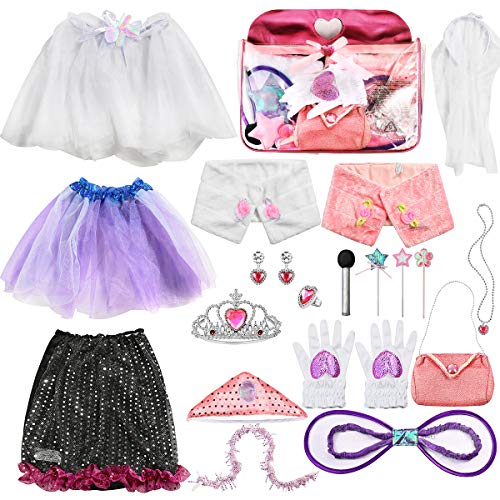 ea3dbab7e Sinuo Girl Dress Up Set, Princess Role Play Dress Up Trunk 21pcs Girls  Popstar,