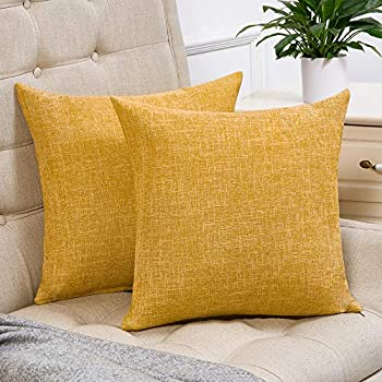 Anickal Set of 2 Mustard Yellow Farmhouse Pillow Covers Cotton Linen Decorative Square Throw Pillow Covers 16x16 Inch for Sofa Couch Decoration