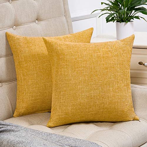 Anickal Set of 2 Mustard Yellow Pillow Covers Cotton Linen Decorative Square Throw Pillow Covers 18x18 Inch for Sofa Couch Decoration
