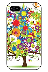 SPRAWL Unique Creative Design Coloruful Flowers and Ladybirds Snap on Protective Tree iPhone 5s Case