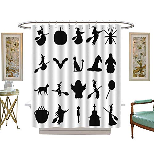 (Iuvolux Shower CurtainSilhouettes Set for Halloween Party. Bathroom 12 Hooks Mildew Resistant Machine Washable W36 x H72)