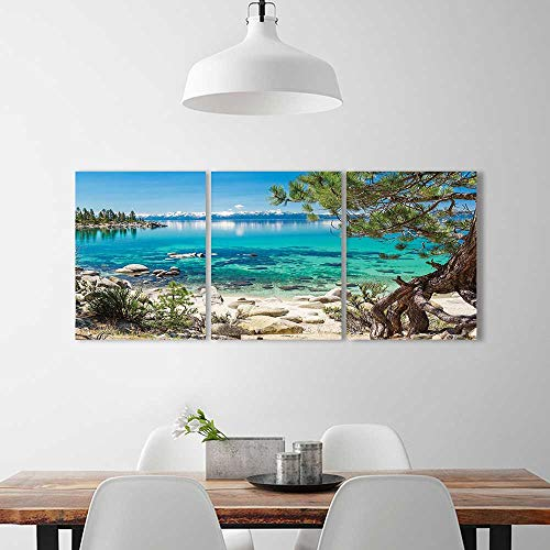 Wall Art Set Frameless Lake Tahoe Snowy Mountain Reflection on Clearwater Rocky Shore Romantic View Aqua Ivory The Kitchen, Dining Room, Living Room, Bar so on (Clearwater Glass Panels)