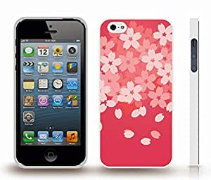 iStar Cases? iPhone 4 Case with Pink Flowers and Falling Petals on Darker Pink Background , Snap-on Cover, Hard Carrying Case (White) by icecream design
