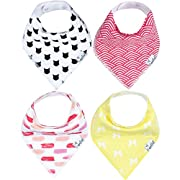 "Baby Bandana Drool Bibs for Drooling and Teething 4 Pack Gift Set For Girls ""Coco Set"" by Copper Pearl"