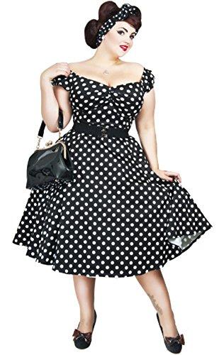 Dots Punkte Kleid Swingkleid Dolores mit Schwarz Damen Weißen Collectif q8wtaa