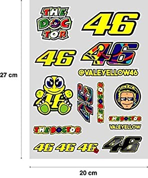 Sticker Sticker Adesivo Aufkleber Decals Autocollants Valentino Rossi Pliego 27 Cm X 20 Cm Pack Of 16 Ref1