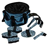7 Pc Teal Turquoise Blue Zebra Grooming Tools Kit and Tote Bag
