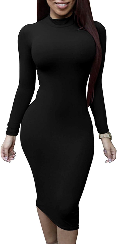 TOB Women's Sexy Long Sleeves Turtleneck Bodycon Stretchy Club Midi Dress