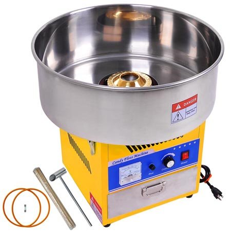 """Yellow 20½"""" Stainless Steel Bowl Electric Cotton Candy Maker Floss Machine w/ Drawer Scoop CE Mark for Industrial Commercial Food Fair Kitchen Appliance Outdoor by LeeMas Inc"""