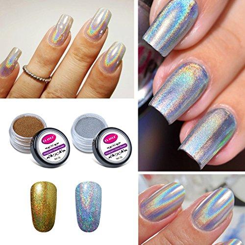 CLAVUZ 2pcs Chrome Powder Holo Effect Gold Silver Chameleon Color Changing Glitter Nail Powder Manicure Pigments with Sponge Stick Nail Art Tools Kit