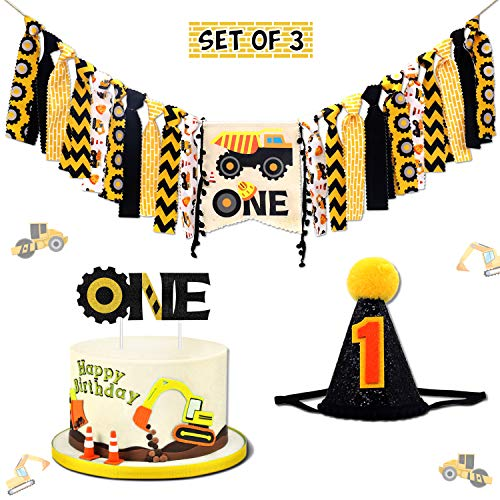 Vansolinne Construction One Birthday Highchair Banner 1st Dump Truck Glitter Cake Topper Cone Hat Set for Baby Boys Girls Toddlers First Party Decorations Photo Prop Bunting Backdrop Supplies