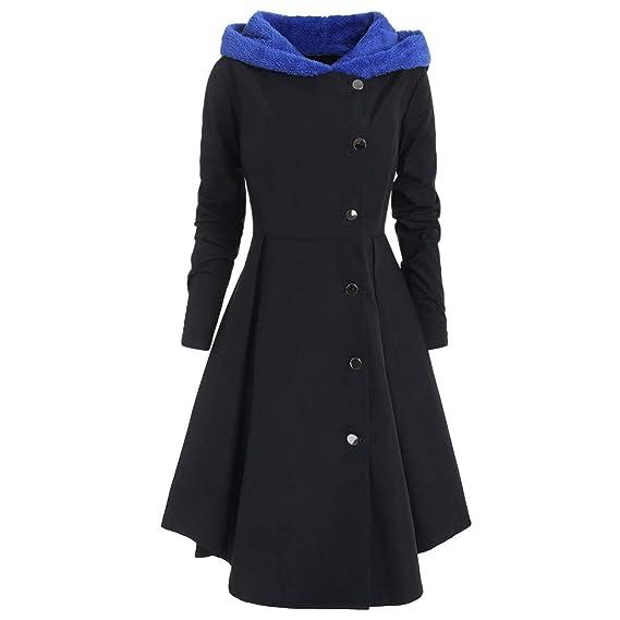 Zarupeng Mujer Abrigo de Botones de drapeado Largo con Capucha Botonadura Individual con Capucha tamaño Extragrande