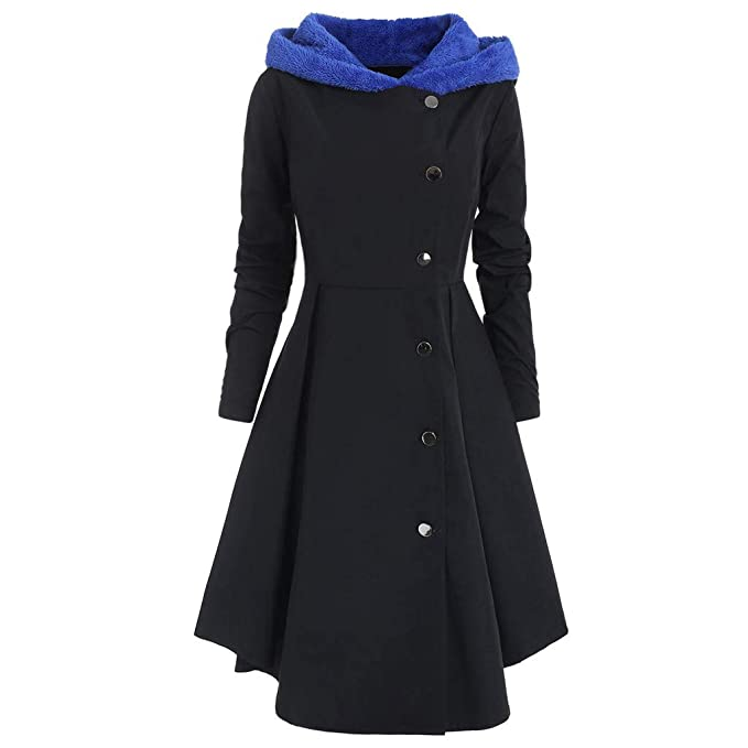 Damen Mantel Jacke Dasongff Umhang Hoodie Lang Coat Fleece