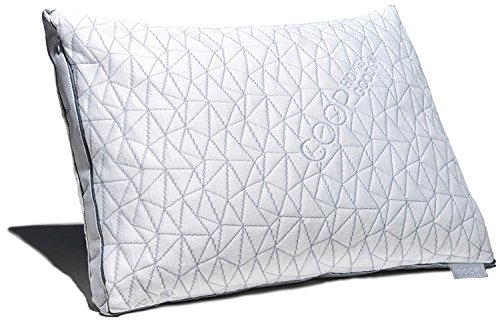 Coop Home Goods - THE EDEN PILLOW - Ultra Tech Cover with Gusset - ADJUSTABLE Fill features cooling and hypoallergenic gel infused memory foam with fiberfill - MADE IN USA - QUEEN - Crafts White Queen Bed