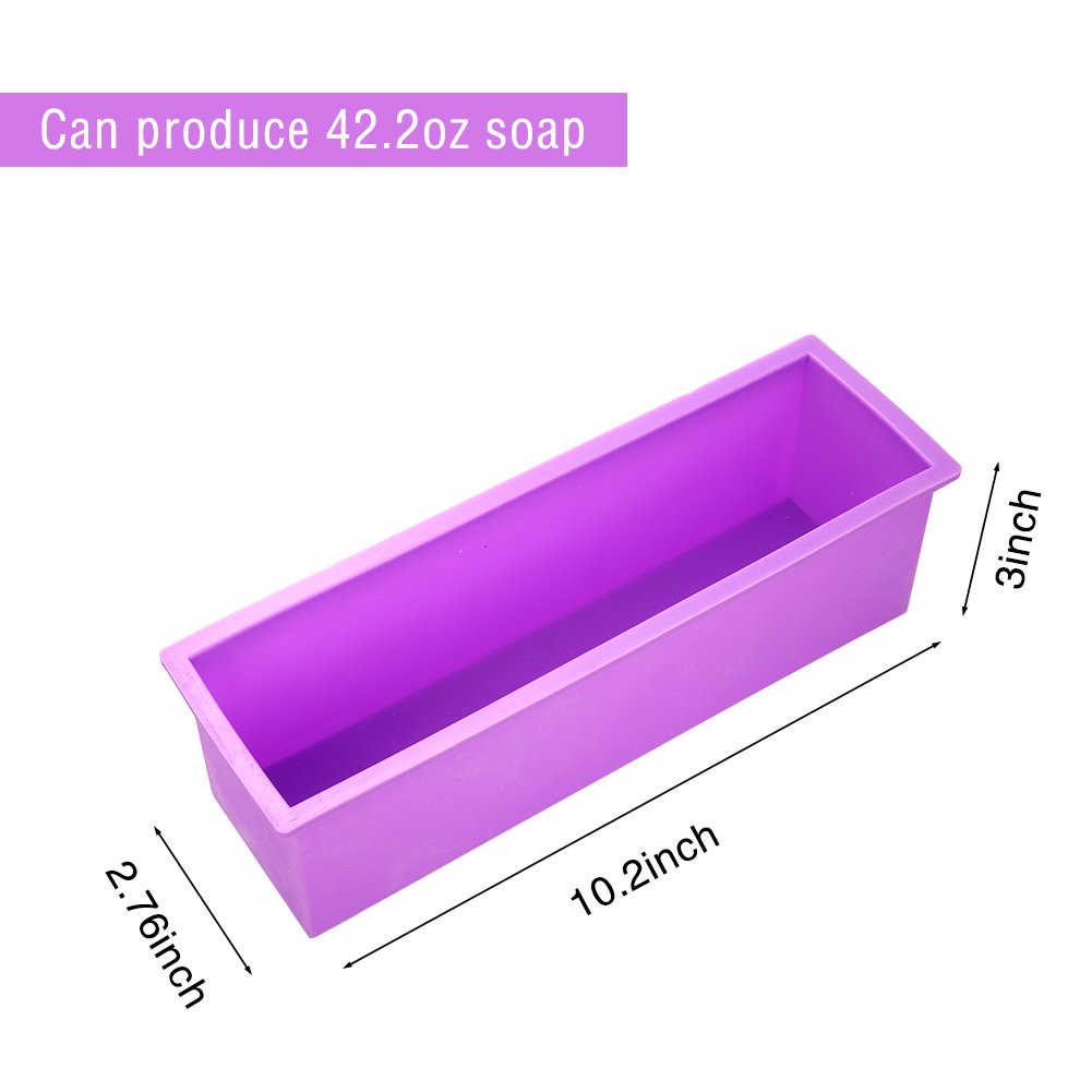 6 Cavity DIY Soap Molds Rectangle Baking Mold Cake Pan Biscuit Chocolate Mold Ice Cube Tray FIged Silicone Soap Mold Premium Silicone Soap Bar and Resin Mold for Homemade Craft