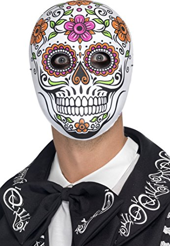 Smiffy's Men's Mexican Day of The Dead Mask, Skull Mask, White, One Size, 45218