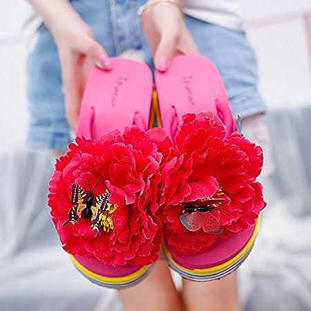 AGECC Antideslizantes Zapatillas De Flores con Fondo Blando, Vacaciones De Verano Femeninas, Zapatos De Playa con Estilo De Arrastre, Chanclas Junto Al Mar Y Fondo Grueso Al Aire Libre.