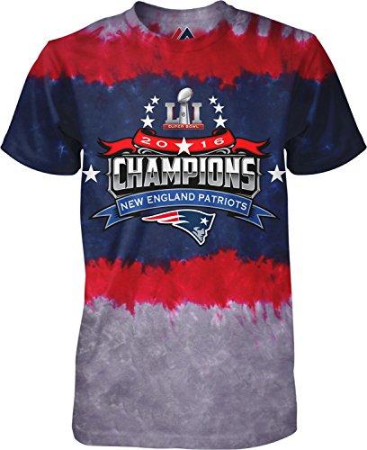 Super Bowl LI Champions NFL - New England Patriots Horizontal Tie Dye T-Shirt (Large)