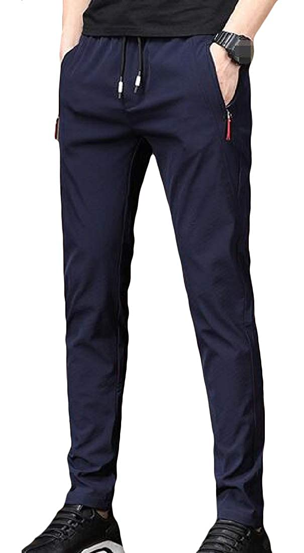 Lutratocro Mens Casual Elastic Waist Sport Straight Fit Solid Sweatpants