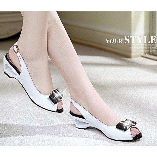 sandalias de White blanco ZHZNVX de bloque verano de PU peep Zapatos mujer toe negro confort de tacón 5xBx04aw