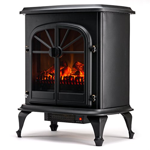 Wellington Free Standing Electric Fireplace Stove - 28 Inch Black Portable Electric (Trim Less Electric Fireplace)
