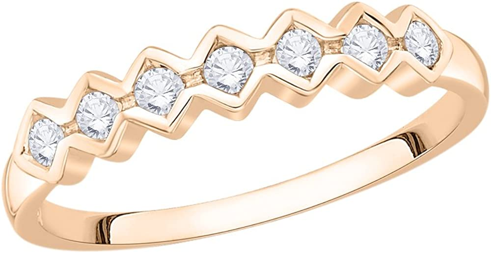 1//6 cttw, Diamond Wedding Band in 10K Pink Gold G-H,I2-I3 Size-12