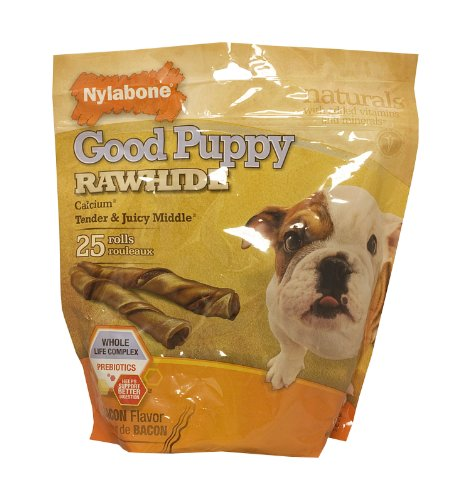 Nylabone Enhanced Rawhide Roll Puppy Treats, Bacon, 25 Count, My Pet Supplies