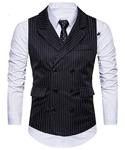 Jacket Breasted Double Peak Tuxedo (C2S Men's Peak Lapel Double Breasted Strips Handsome Casual Wedding Tux Vest WT001 (Black, XL))