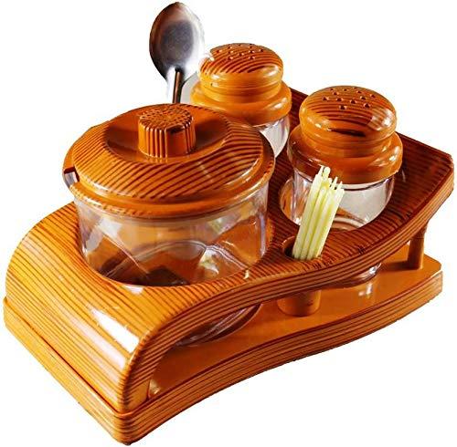 aufers Oscar Food Grade Salt / Pepper / Pickle Set with Stand for Kitchen / Dining / Transparent / Wooden Design_Plastic 4 Piece Salt & Pepper Set (Plastic)