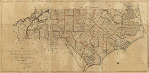 32 x 24 Reprinted Old Vintage Antique Map of: c.1808 To David Stone and Peter Brown, Esq. : this first actual survey of the state of North Carolina taken by the subscribers is respectfully dedicated