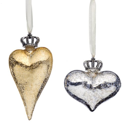 DEMDACO CROWNED HEARTS Silver and Gold Glass Ornaments Valentine Gilded Life NEW set
