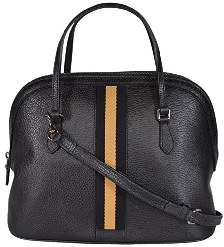 Gucci Women's 420023 Leather Web Stripe Convertible Dome Handbag (Black/Gold)