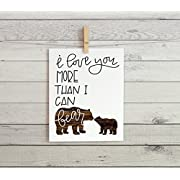 Nursery Cardstock Print 8.5 x 11  I love you more than I can bear  (Wood Texture)