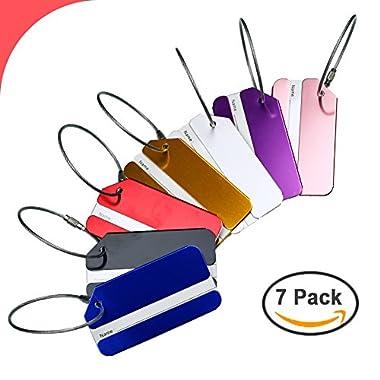 Hibate Metal Luggage Tag Suitcase Bag Travel Labels Accessories - Set of 7