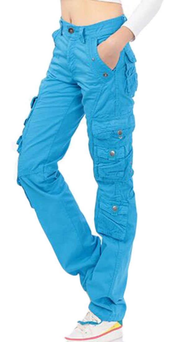 YUELANDE-Women Vogue Rugged Straight Leg Multi Pockets Cargo Pants