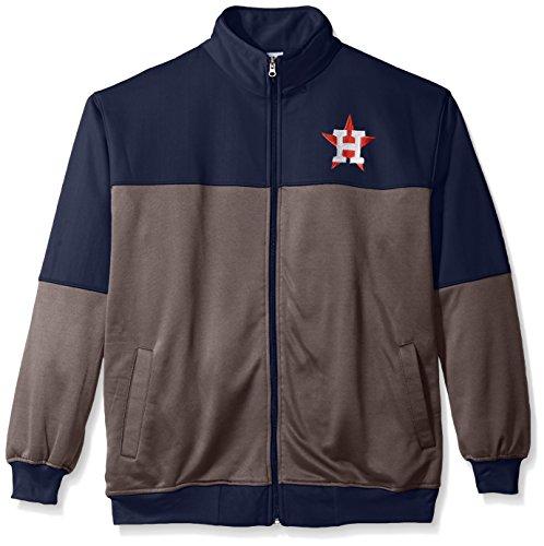 Houston Jacket Astros (MLB Houston Astros Men's Poly Fleece Yoked Track Jacket with Wordmark Logo, 3X/Tall, Navy/Gray)