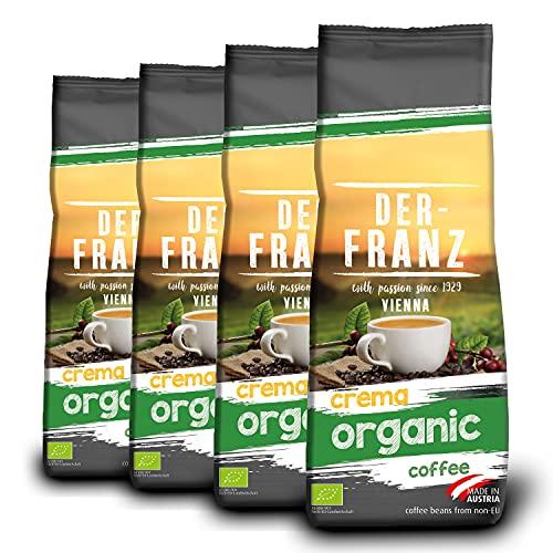 Der-Franz - Café Crema Organic con certificación UTZ, molido, 4 x 500 g