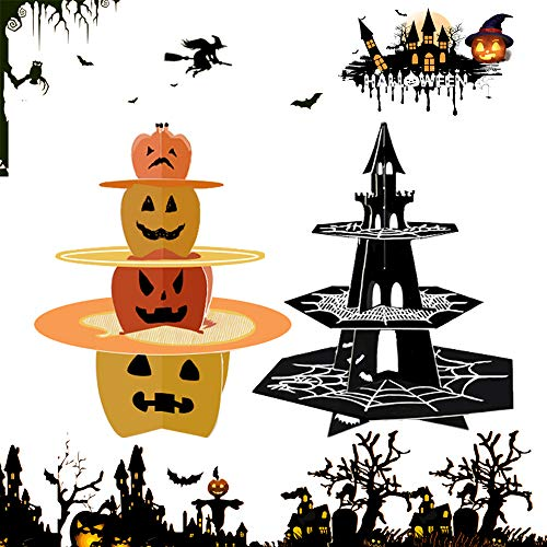 2 Set of 3-Tier Halloween Cupcake Stand Fruit Plate Cakes Desserts Fruits Snack Candy Buffet Display Tower for Halloween Party Serving Platter Small