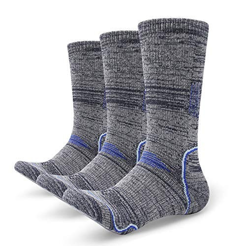 Petrala Hiking Socks Mens No Blister Thick Padded Cotton Heavy Cushion Thermal Blue Boot Sock 3 Pack for Trekking Outdoor