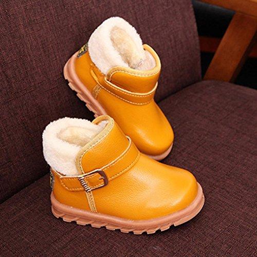 OverDose Neue Kinder Jungen Mädchen Anti-Rutsch Winter Babyschuhe Warm Lederschuhe Mode Verdickung Schnee Stiefel Baumwolle Stiefel A-Yellow