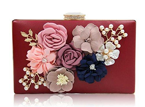 EPLAZA Womens Satin Flower Evening Clutch Bag Pearl Beaded Wedding Bridal Purse Prom Party Handbag ()