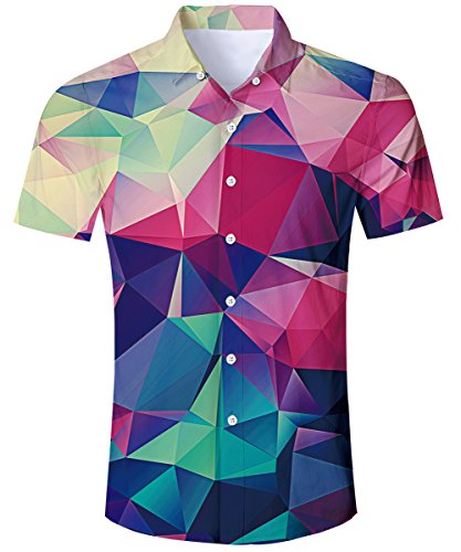 Mens Diamond Hawaiian Shirt Colorful Geometry Print Tropical Summer Beach Holiday Button Down Short Sleeve Stand Collar Basic Cool Style Aloha Dress Shirts Casual Home Clothes for Junior Boys Medium
