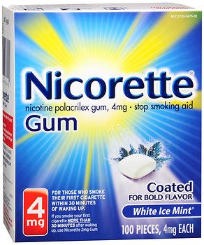 Nicorette 4mg Coated White Ice Mint - 100 ct, Pack of 3