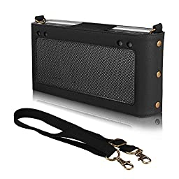 Fintie Bose SoundLink III Case - Premium Vegan Leather Protective Bumper Cover Sleeve Carry Bag with Removable Holding Strap for Bose Soundlink 3 Bluetooth Wireless Mobile Speaker, Black