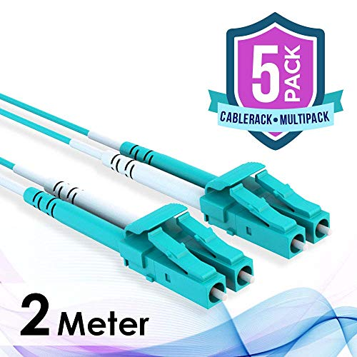 - 5-Pack CableRack 2m LC/LC 40/100GB Duplex 50/125 Multimode OM4 Fiber Patch Cable Aqua