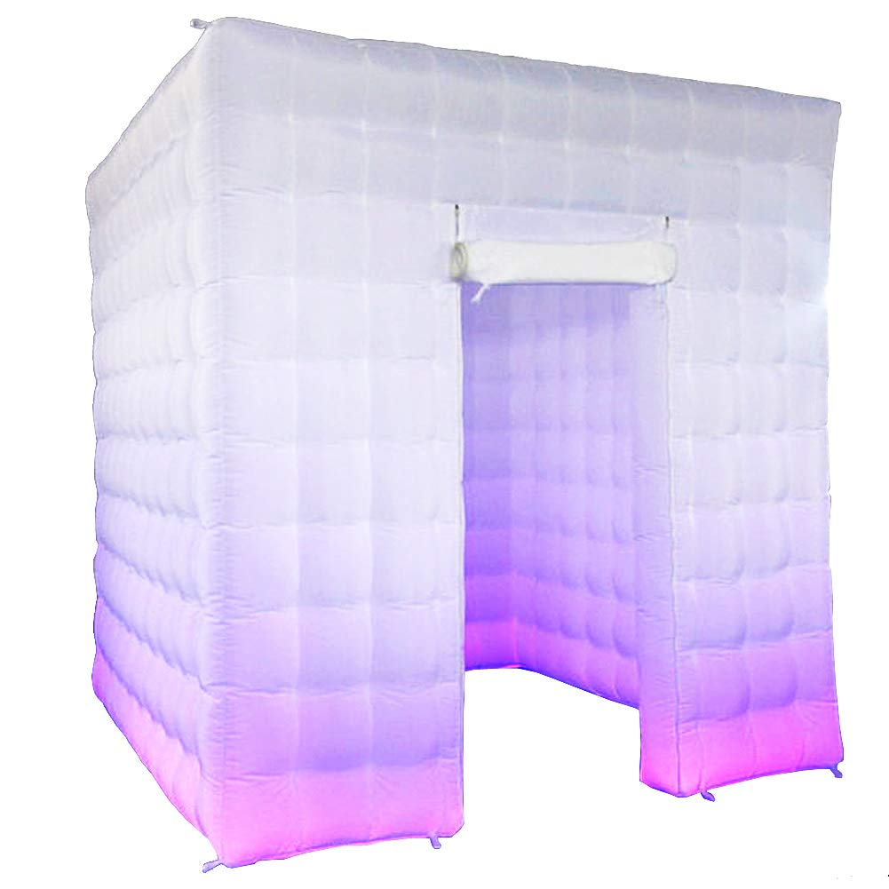 Inflatable Portable Photo Booth-DIY Selfie Photo Booth Tent Enclosure with 17 Colors LED Changing Lights and Inner Air Blower for Christmas Day, New Year,Parties,Promotions Advertising (1 Door)­ by SUNSHINAE