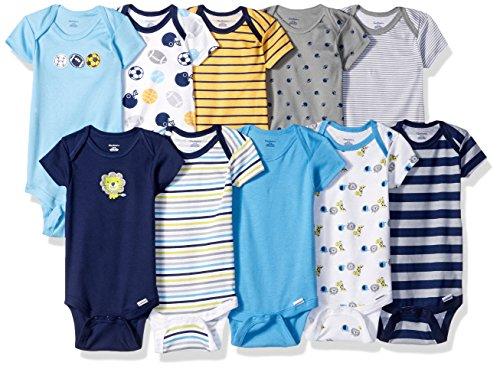 Gerber Baby Boys' 10 Pack Onesies Bundle, Sport/Safari, 3-6 Months - Bundle 3 Month